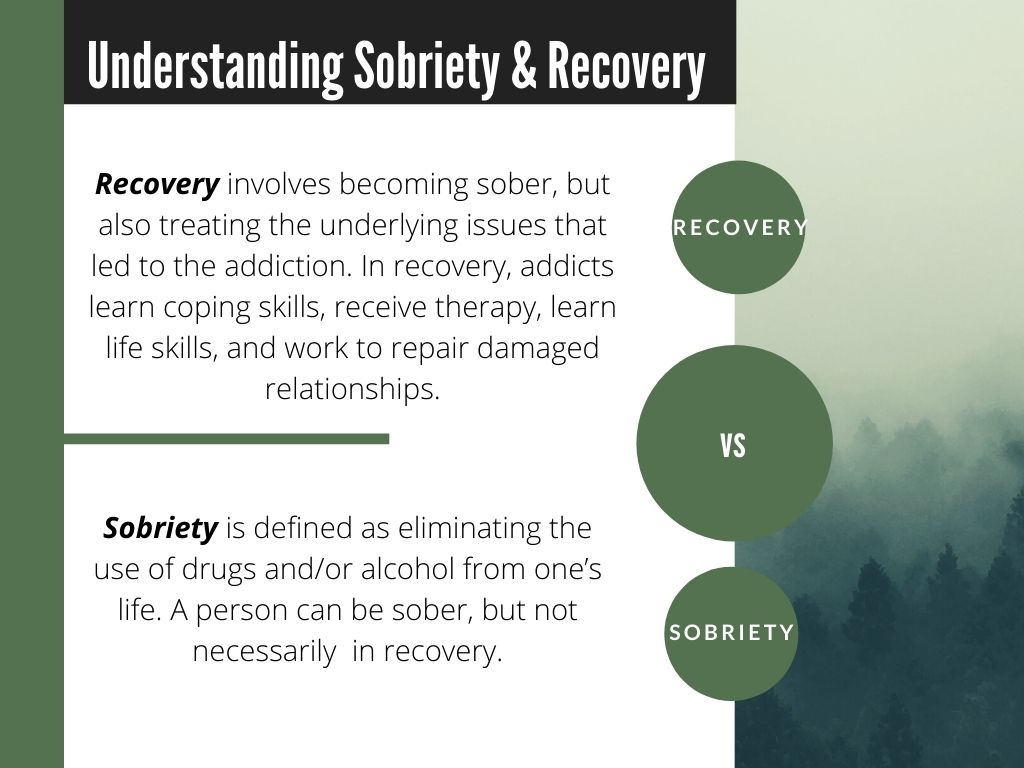 Differences between sobriety and recovery, drugs and alcoholism, addiction