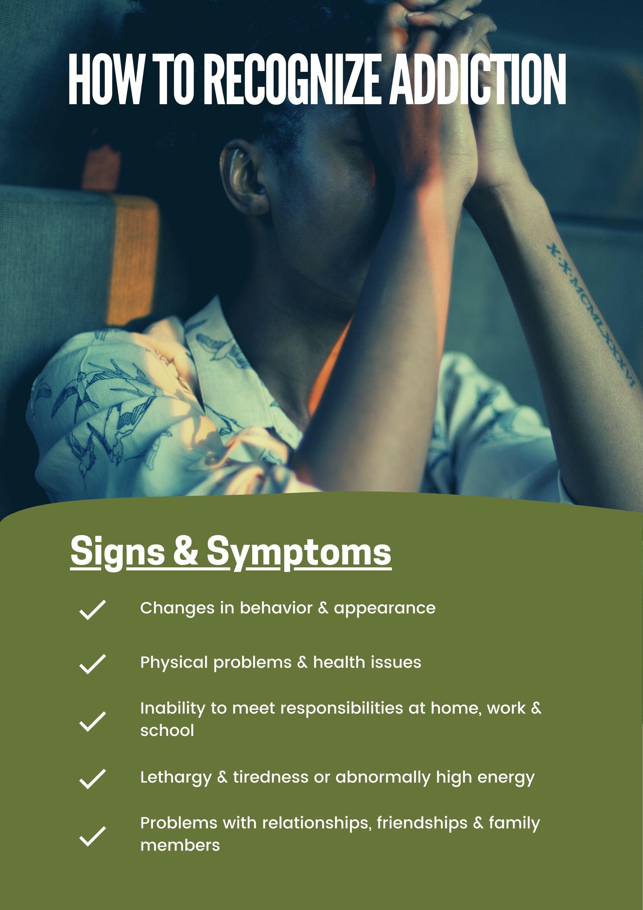 women addiction signs, symptoms of addiction in women